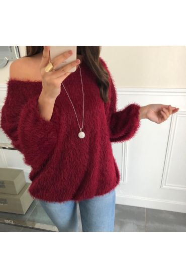 SWEATER HAS SOFT BRISTLES BASE ELASTIQUEE + NECKLACE OFFERED 5080 BORDEAUX