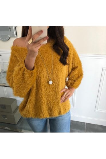 PULL A POILS DOUX BASE ELASTIQUEE + COLLIER OFFERT 5080 MOUTARDE