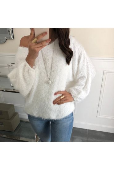 SWEATER HAS SOFT BRISTLES BASE ELASTIQUEE + NECKLACE OFFERED 5080 WHITE