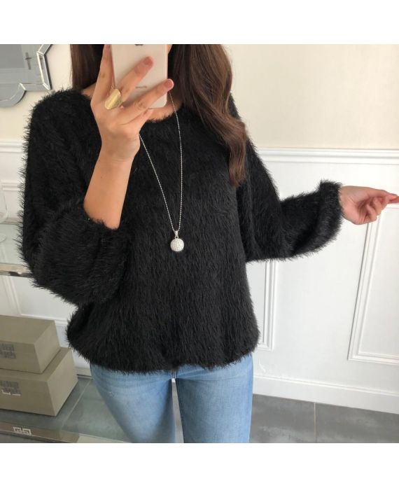 SWEATER HAS SOFT BRISTLES BASE ELASTIQUEE + NECKLACE OFFERED 5080 BLACK