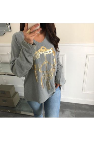 PULL PEACE AND LOVE 4059 GREY