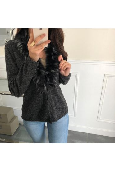 VEST FUR COLLAR SYNTHETIC 5085 BLACK