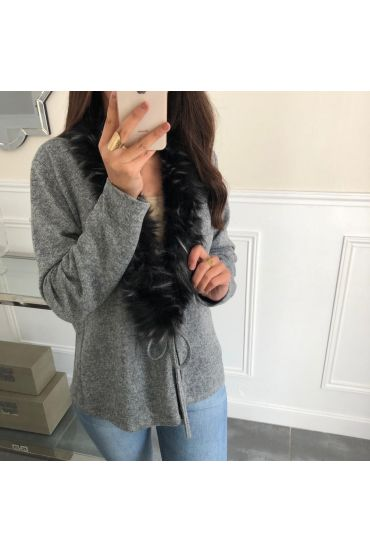 VEST FUR COLLAR SYNTHETIC 5085 GRAY