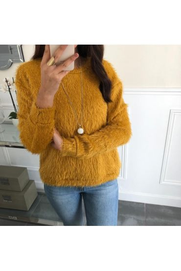 SWEATER HAS SOFT BRISTLES + NECKLACE OFFERED 5078 MUSTARD