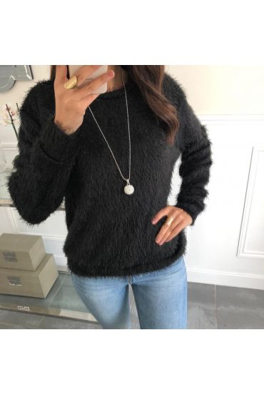 SWEATER HAS SOFT BRISTLES + NECKLACE OFFERED 5078 BLACK