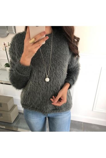 SWEATER HAS SOFT BRISTLES + NECKLACE OFFERED 5078 GREY