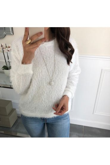 SWEATER HAS SOFT BRISTLES + NECKLACE OFFERED 5078 WHITE