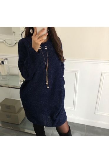 EVENING DRESS SHINY JEWEL INTEGRATED 5077 NAVY BLUE
