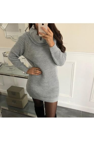 PULL COL ROULE LUREX 5087 GREY