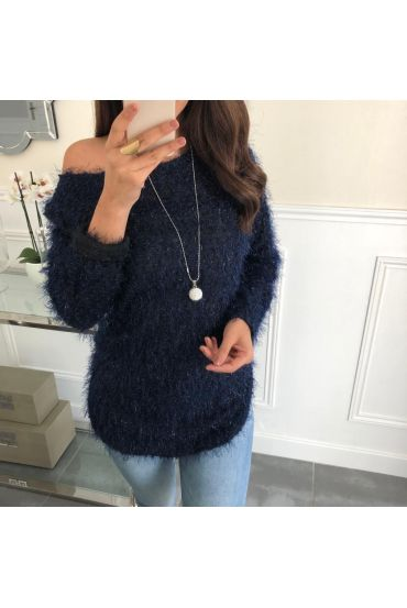 SWEATER HAS SOFT BRISTLES + NECKLACE OFFERED 5074 NAVY BLUE