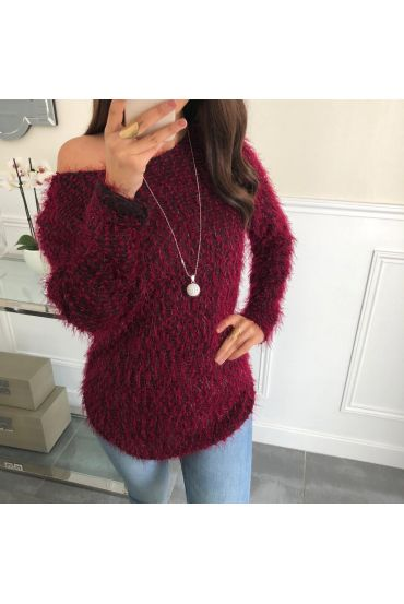 SWEATER HAS SOFT BRISTLES + NECKLACE OFFERED 5074 RED
