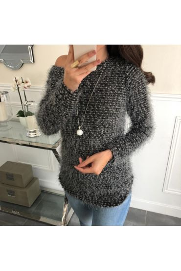SWEATER HAS SOFT BRISTLES + NECKLACE OFFERED 5074 GREY
