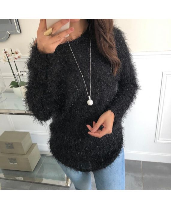 SWEATER HAS SOFT BRISTLES + NECKLACE OFFERED 5074 BLACK