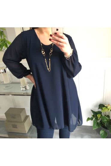 LARGE SIZE TUNIC CLOAK + NECKLACE OFFERED 5066 NAVY BLUE