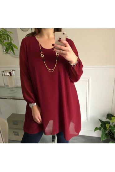 LARGE SIZE TUNIC CLOAK + NECKLACE OFFERED 5066 BORDEAUX