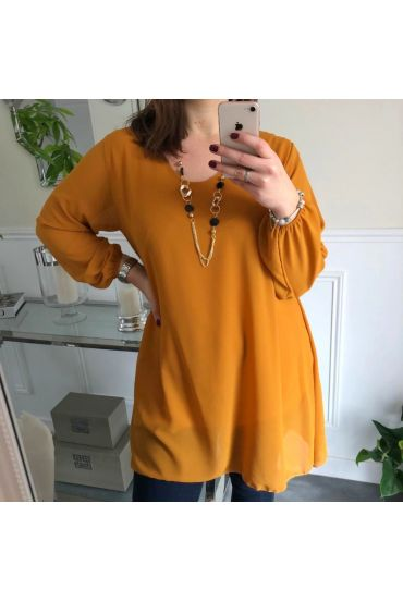 LARGE SIZE TUNIC CLOAK + NECKLACE OFFERED 5066 MUSTARD