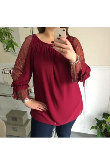 LARGE SIZE SLEEVED TOP HAS SEQUINS 5072 BORDEAUX