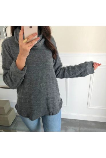 PULL COL ROULE DETAIL ARGENTE SOFT 5086 GREY
