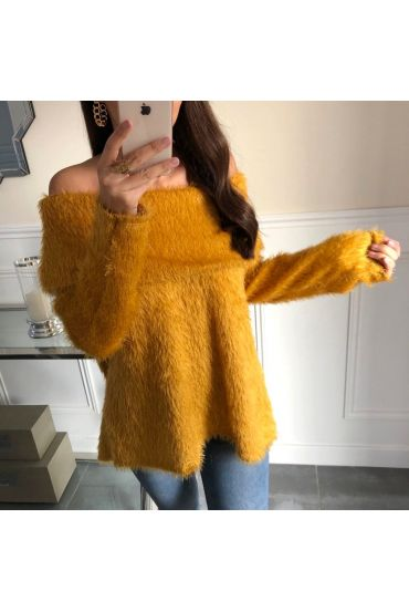 PULL COL TOMBANT A POILS DOUX 5097 MOUTARDE