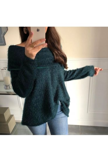 PULL COL TOMBANT A POILS DOUX 5097 VERT