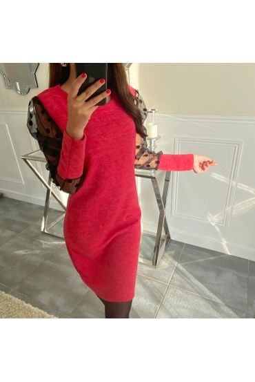 ROBE MANCHES DENTELLE 5129 ROUGE
