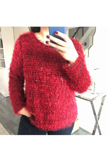 GRANDE TAILLE PULL A POILS DOUX 5150 ROUGE