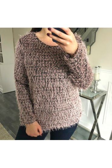 GRANDE TAILLE PULL A POILS DOUX 5150 ROSE