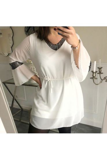 LARGE SIZE TUNIC TOP HAS SEQUIN 5148 WHITE