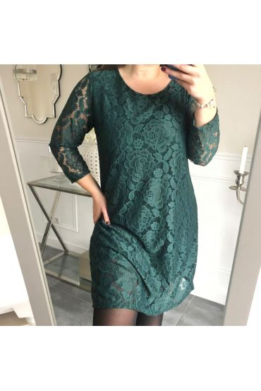 LARGE SIZE DRESS EVENING LACE 5154 GREEN