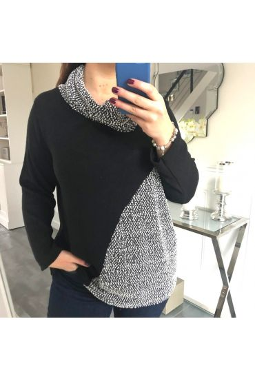GRANDE TAILLE PULL COL ROULE 5152 NOIR