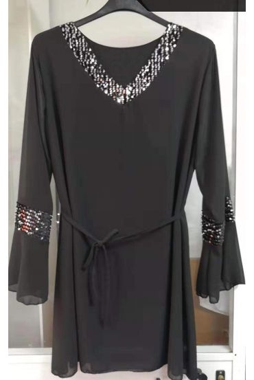 LARGE SIZE TUNIC TOP HAS SEQUIN 5148 BLACK