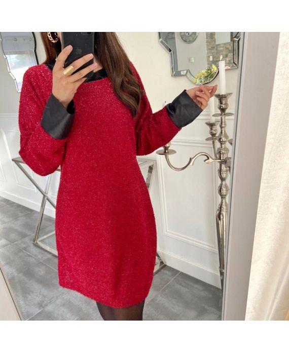 EVENING DRESS SHINY 5134 BORDEAUX