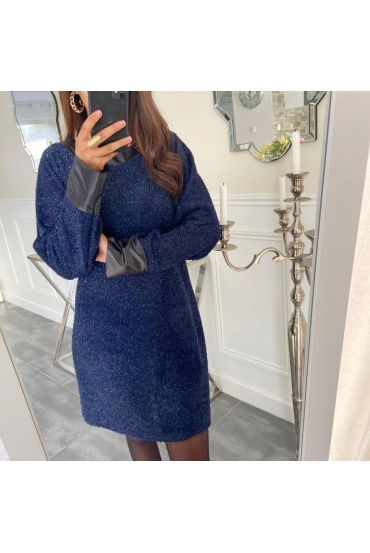 EVENING DRESS SHINY 5134 NAVY BLUE