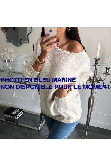 PULLOVER 2 POCHES 3062 BLEU MARINE