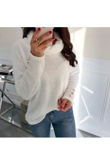 PULL COL ROULE MANCHES BOUTONS FANTAISIE 5053 BLANC
