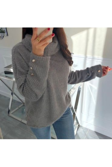 PULL COL ROULE MANCHES BOUTONS FANTAISIE 5053 GRIS