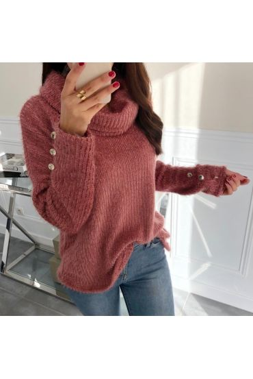 PULL COL ROULE MANCHES BOUTONS FANTAISIE 5053 ROSE