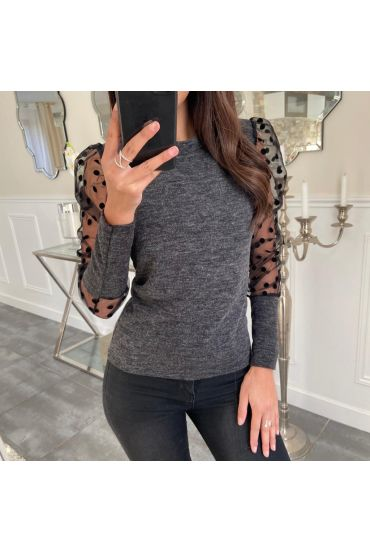 PULL MANCHES DENTELLE 5075 GRIS FONCE
