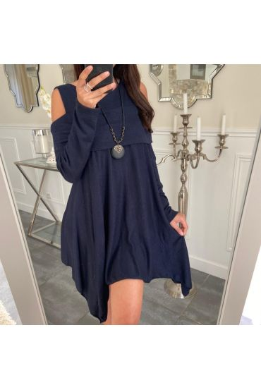 TUNIC ASYMMETRIC COVER + NECKLACE 5023 NAVY BLUE