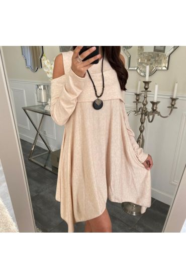 TUNIC ASYMMETRIC COVER + NECKLACE 5023 BEIGE