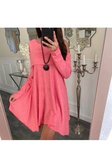 TUNIC ASYMMETRIC COVER + NECKLACE 5023 CORAL