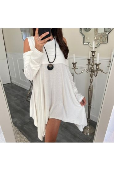 TUNIC ASYMMETRIC COVER + NECKLACE 5023 WHITE