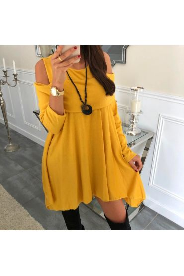 TUNIC ASYMMETRIC COVER + NECKLACE 5023 MUSTARD