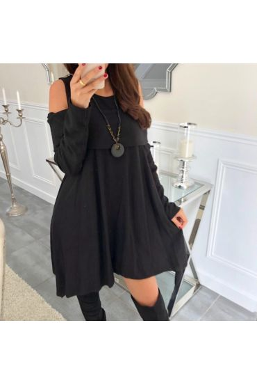 TUNIC ASYMMETRIC COVER + NECKLACE 5023 BLACK