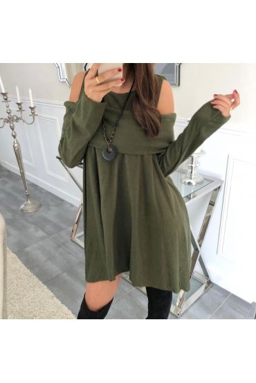 TUNIC ASYMMETRIC COVER + NECKLACE 5023 MILITARY GREEN