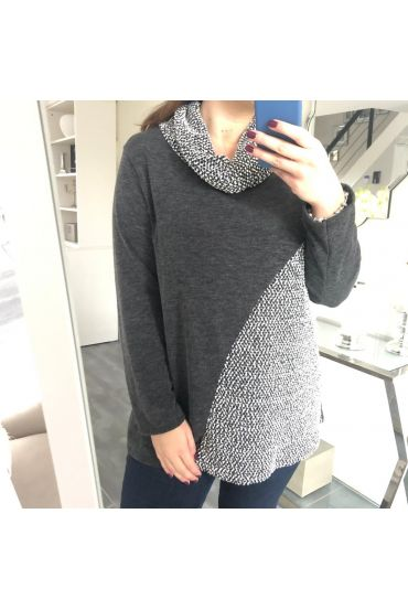 GRANDE TAILLE PULL COL ROULE 5152 GRIS