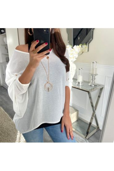 T-SHIRT 2 PIECES JEWELRY 5168 WHITE