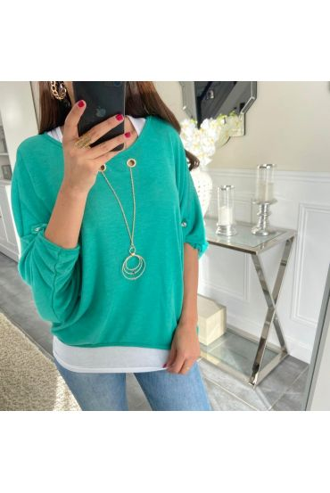 T-SHIRT 2 PIECES JEWELRY 5168 GREEN