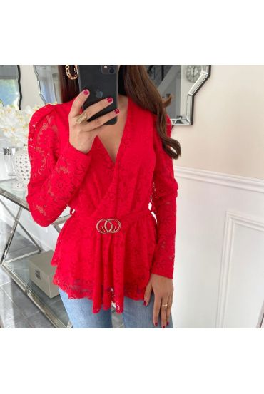 T-SHIRT SLEEVES LACE BELT 5165 RED