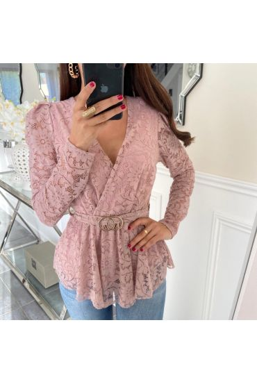 T-SHIRT SLEEVES LACE BELT 5165 PINK